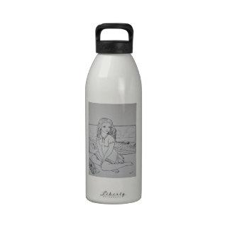 Blonde girl sea, mac pc, oversize beauty water bottle