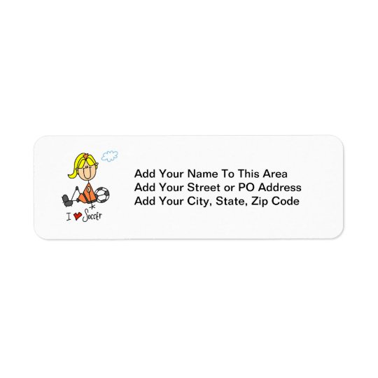 Blonde Girl Stick Figure I Love Soccer Gifts Return Address Label
