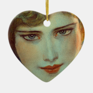 Blonde girl with earrings ceramic heart ornament