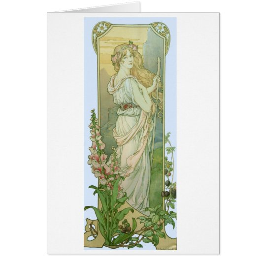 Blonde Girl with Flowers in Her Hair Card