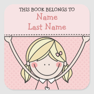 Blonde Girl with Pigtails and Sign Bookplates Square Sticker