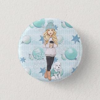 Blonde Girl with White Puppy 1 Inch Round Button
