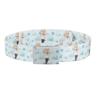 Blonde Girl with White Puppy Belt