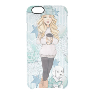 Blonde Girl with White Puppy Clear iPhone 6/6S Case