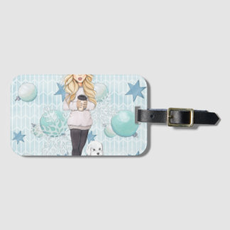 Blonde Girl with White Puppy Luggage Tag
