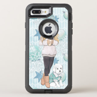 Blonde Girl with White Puppy OtterBox Defender iPhone 8 Plus/7 Plus Case