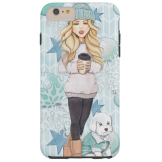 Blonde Girl with White Puppy Tough iPhone 6 Plus Case