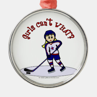 Blonde Girls Hockey Player Silver-Colored Round Ornament