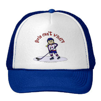 Blonde Girls Hockey Player Trucker Hat