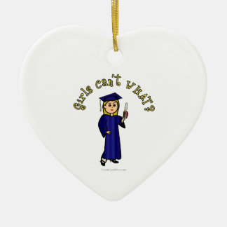 Blonde Graduate in Blue Ceramic Heart Ornament