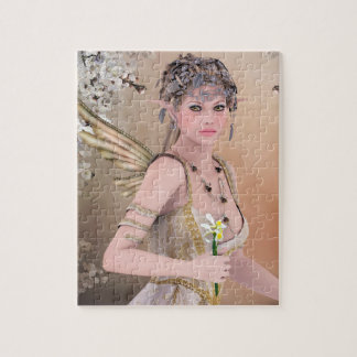 Blonde Hair Fairy girl and Butterfly Jigsaw Puzzle