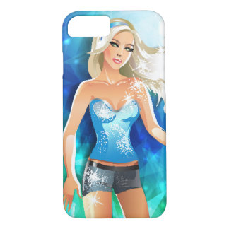 Blonde hair fashion model with blue headband iPhone 7 case
