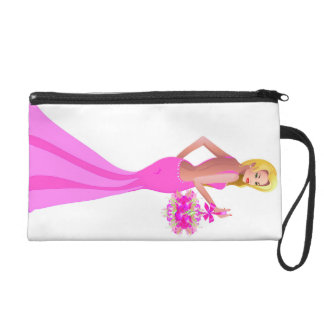 Blonde hair fashion model with pink dress and flow wristlets