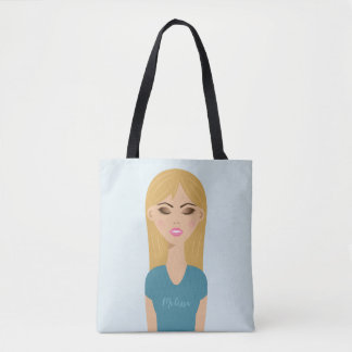 Blonde Hair Girl Illustration With Makeup & Name Tote Bag