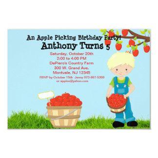 Blonde Haired Boy Apple Picking Birthday Party Card