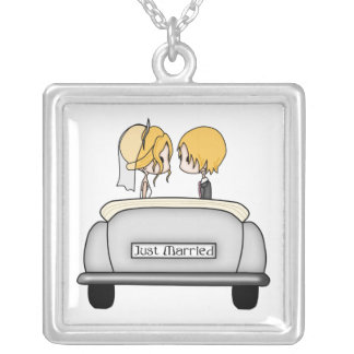 Blonde Haired Bride & Blonde Groom in Grey Car Square Pendant Necklace