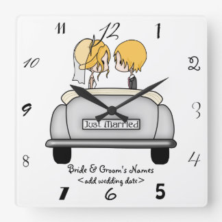 Blonde Haired Bride & Blonde Groom in Grey Car Wall Clock