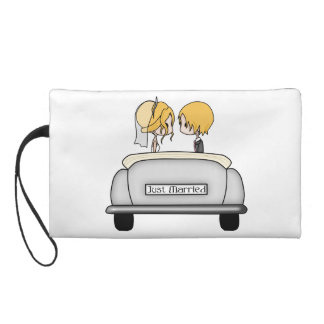 Blonde Haired Bride & Blonde Groom in Grey Car Wristlet Clutch