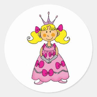 Blonde haired princess round sticker
