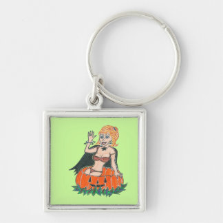 Blonde Halloween Pumpkin Girl in a Black Cape Silver-Colored Square Keychain