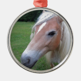 BLONDE HORSE Silver-Colored ROUND ORNAMENT