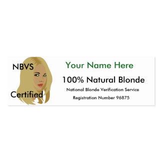 Blonde ID Card Pack Of Skinny Business Cards
