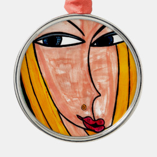 Blonde in Red Dress Silver-Colored Round Ornament