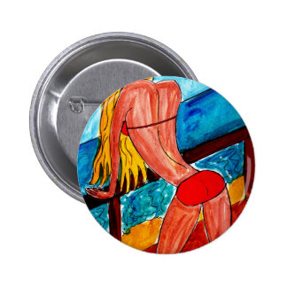 Blonde in Swimsuit 2 Inch Round Button