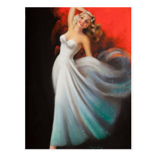 Blonde in White Dress Pin Up Art Postcard