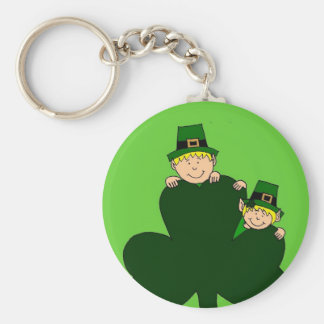blonde kids with shamrock on green keychain