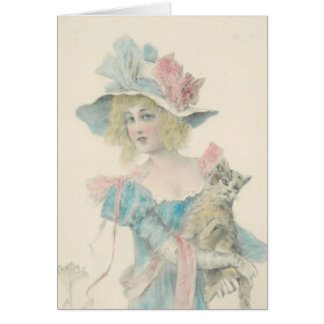 Blonde Lady with Cat Card