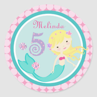 Blonde Mermaid Age Five Birthday Sticker