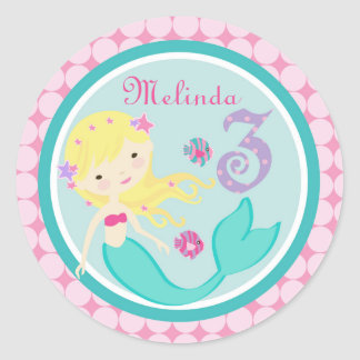 Blonde Mermaid Age Three Birthday Sticker
