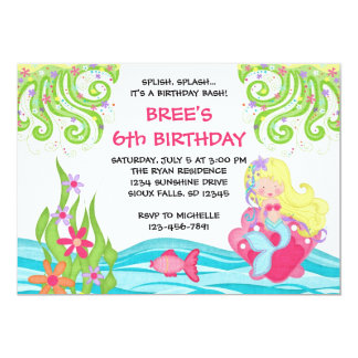 Blonde Mermaid Birthday Invitations