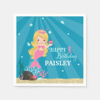 Blonde Mermaid Birthday Paper Napkin