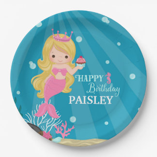 Blonde Mermaid Birthday Paper Plate