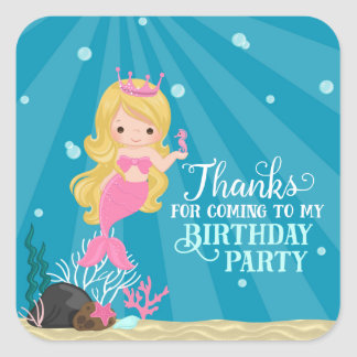 Blonde Mermaid Birthday Square Sticker