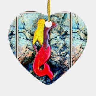 blonde mermaid in red ceramic heart ornament