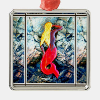 blonde mermaid in red granite metal ornament