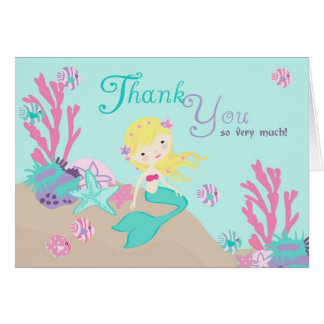 Blonde Mermaid Thank You Card