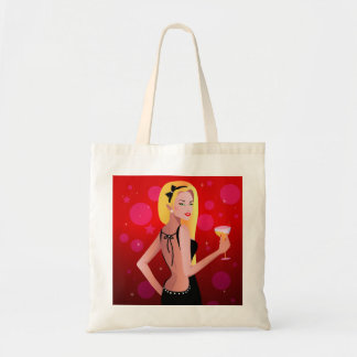 Blonde Model Christmas Party Tote Bag