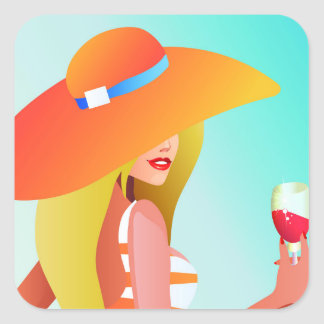Blonde model with large orange hat holding drink square sticker