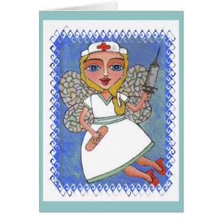 Blonde Nurse Fairy - RN LPN faerie card