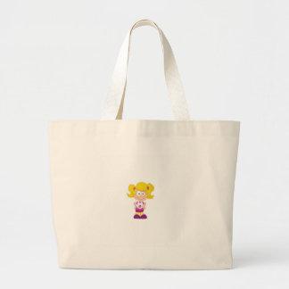 blonde pigtails large tote bag