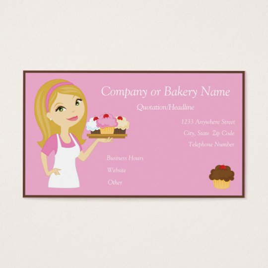 Blonde/Pink Cupcake Baker/Bakery 3 Business Card