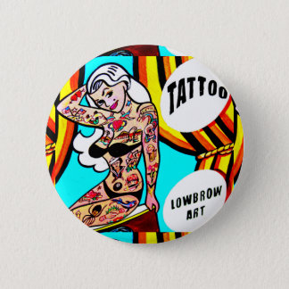 blonde pinup with tattoos button