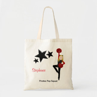 Blonde Pom Squad in Black & Red Tote Bag
