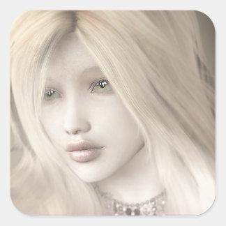 Blonde Portrait Square Sticker