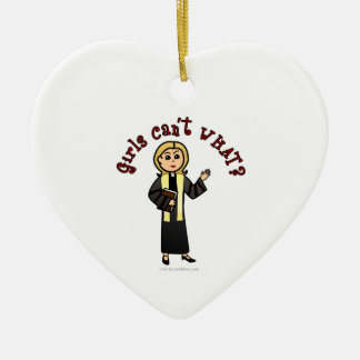 Blonde Preacher Girl Ceramic Heart Ornament
