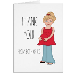 Blonde Pregnant Mom Baby Shower Thank You Card